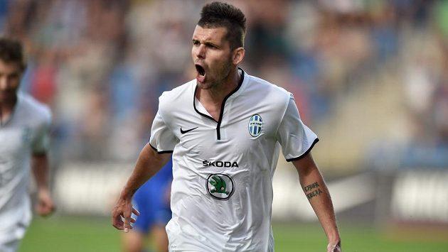 Mladoboleslavský útočník Michal Ďuriš slaví gól proti Širokému Brijegu v úvodním utkání druhého předkola Evropské ligy.