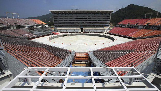 Takhle vypadal olympijský stadión pro zahajovací a závěrečný ceremoniál zimních her 2018 v Pchjongčchangu na konci června, nyní je téměř hotový.