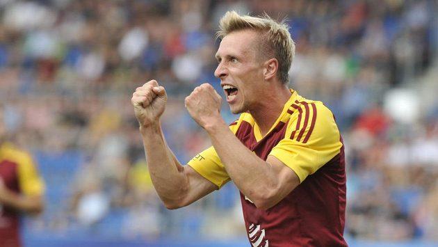 Tomáš Berger z Dukly se raduje z gólu proti Slovácku.