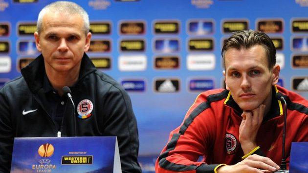 Trenér pražské Sparty Vítězslav Lavička (vlevo) a obránce Ondřej Švejdík