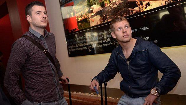 Hráči Watfordu Daniel Pudil (vlevo) a Matěj Vydra na srazu české fotbalové reprezentace
