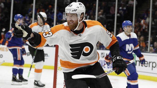 Jakub Voráček slaví svůj gól do sítě NY Islanders.