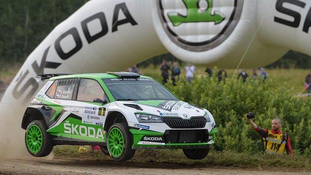 Jan Kopecký a Pavel Dresler na trati Rallye Bohemia.