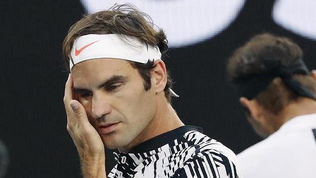 Švýcar Roger Federer při finále Australian Open.