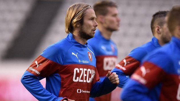 Záložník Jaroslav Plašil na tréninku české fotbalové reprezentace.