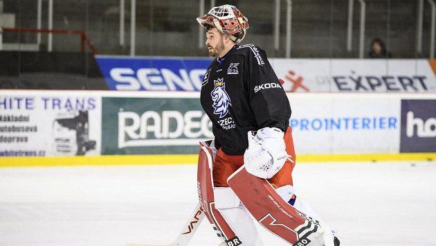 Dominik Furch během tréninku hokejové reprezentace před turnajem Beijer Hockey Games.