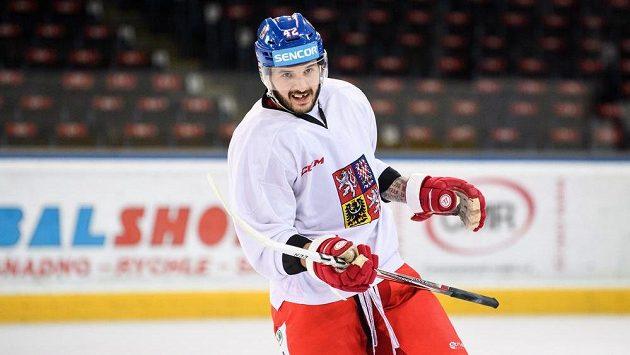Martin Frk na archivním snímku při tréninku hokejové reprezentace v Praze.