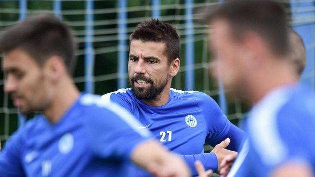 Fotbalista Milan Baroš na tréninku Slovanu Liberec.