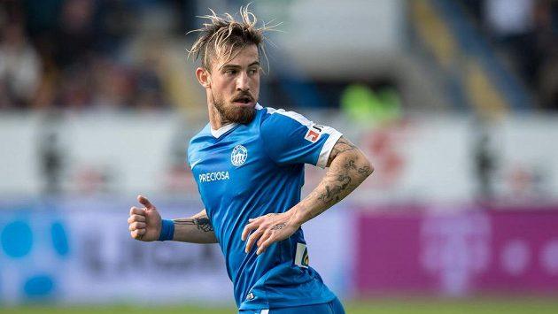 Nová posila Slovanu Liberec záložník Lukáš Vácha během utkání s Plzní.