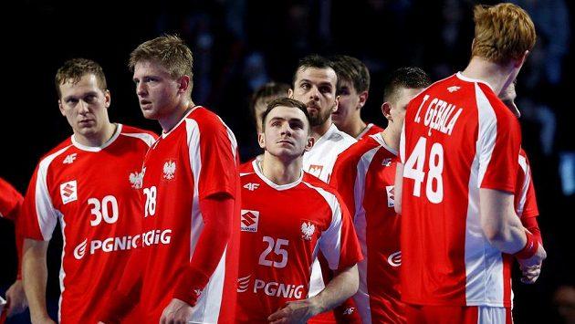 Reakce házenkářů Polsko po konci utkání.