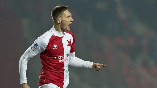 Milan Škoda ze Slavie se raduje z gólu proti Bohemians
