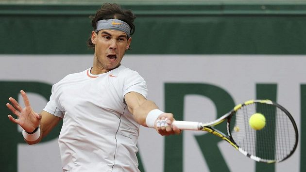 Španělský tenista Rafael Nadal v utkání proti Martinu Kližanovi ze Slovenska.