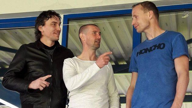 Hvězdné trio libereckých asistentů kouče Holoubka. Zleva Marek Čech, Miroslav Holeňák a Jiří Jarošík.