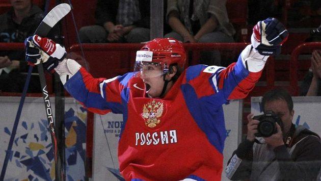 Alexander Ovečkin a jeho radsot v utkání s Norskem.
