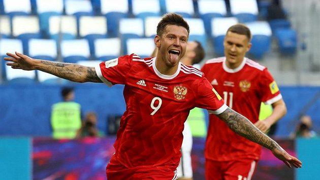 Rus Fedor Smolov se raduje z gólu proti Novému Zélandu.