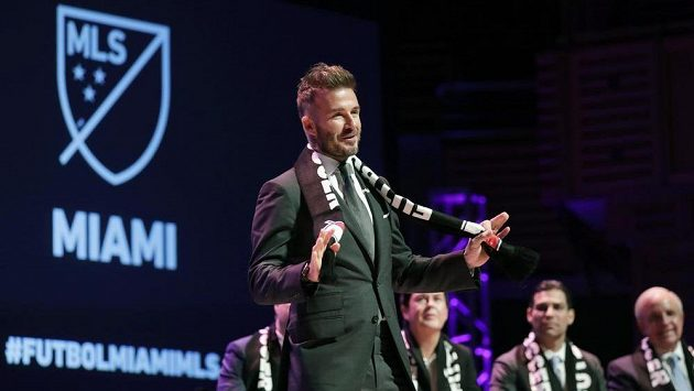 David Beckham poté, co se dočkal licence pro klub v MLS.