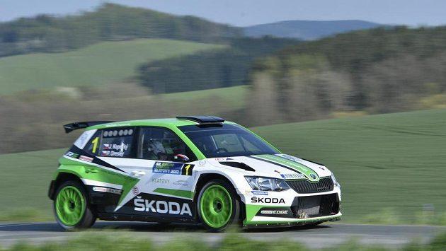 Jan Kopecký a Pavel Dresler na voze Škoda Fabia R5 při Rallye Šumava.