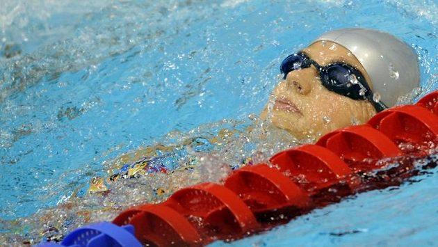Plavkyně Simona Baumrtová v olympijském stadiónu v Londýně