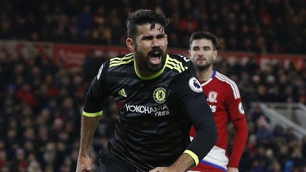Útočník Chelsea Diego Costa se raduje z branky proti Middlesbrough.
