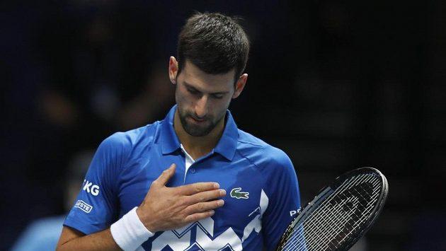 Srbský tenista Novak Djokovič během svého úvodního zápasu na Turnaji mistrů.