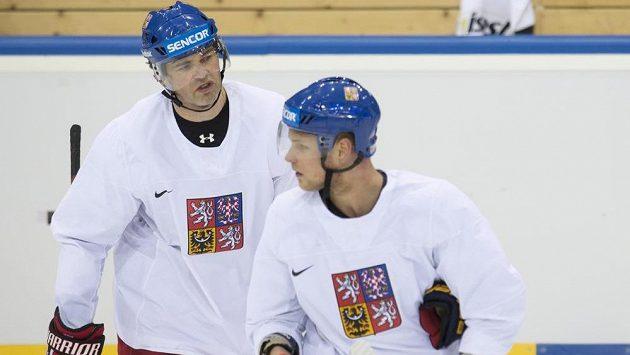 Hokejoví útočníci Jaromír Jágr a Vladimír Sobotka (vpravo) na tréninku českého národního týmu v Minsku.