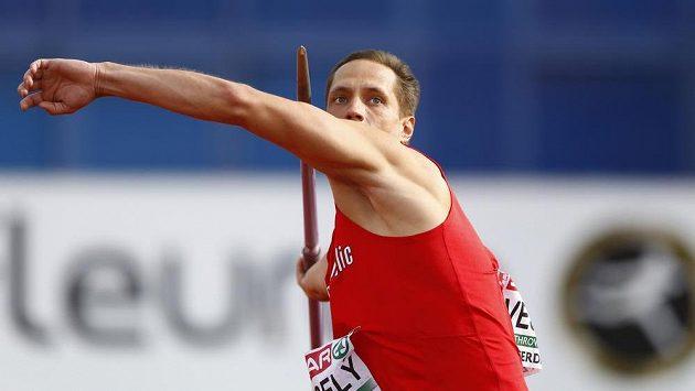 Oštěpař Vítězslav Veselý během finálového závodu na ME v Amsterdamu.