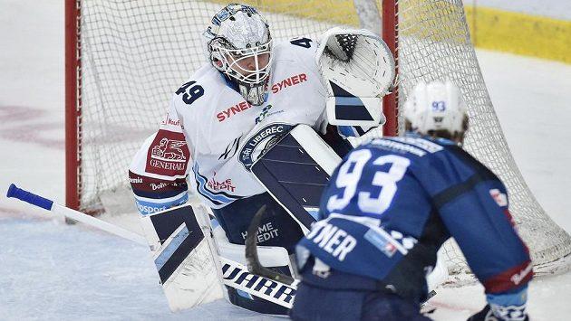 Matyáš Kantner z Plzně v utkání proti Liberci.