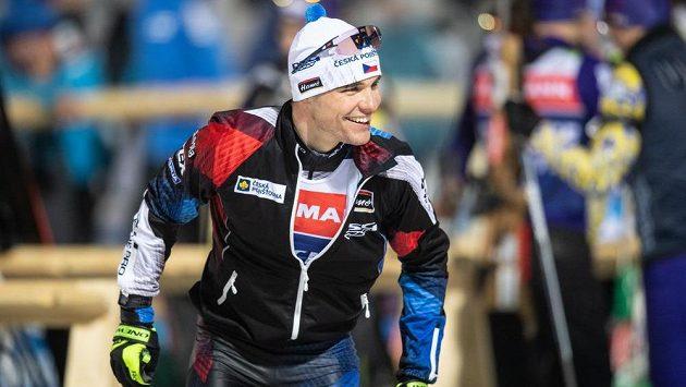 Biatlonista Michal Krčmář při tréninku v Novém Městě na Moravě.