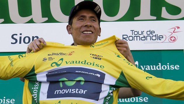 Lídr závodu kolem Romandie Nairo Quintana z Kolumbie.