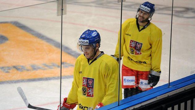 Bratři Tomáš (vlevo) a Ivan Rachůnkovi během tréninku české hokejové reprezentace v O2 areně.