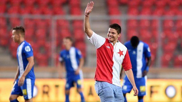 Hokejista Tomáš Hertl před nedávnem zašel na utkání fotbalové Slavie s Libercem.