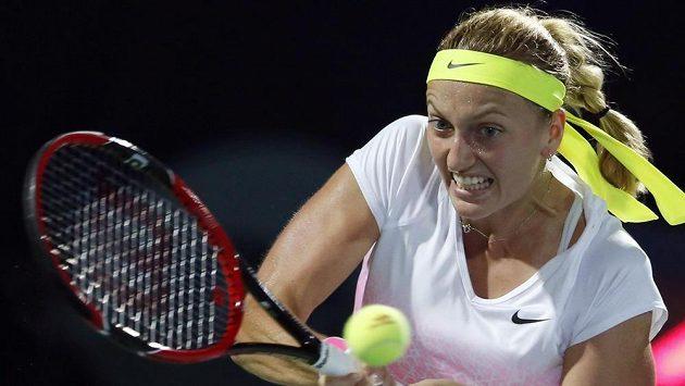 Česká tenistka Petra Kvitová v zápase proti Elině Svitolinové z Ukrajiny.
