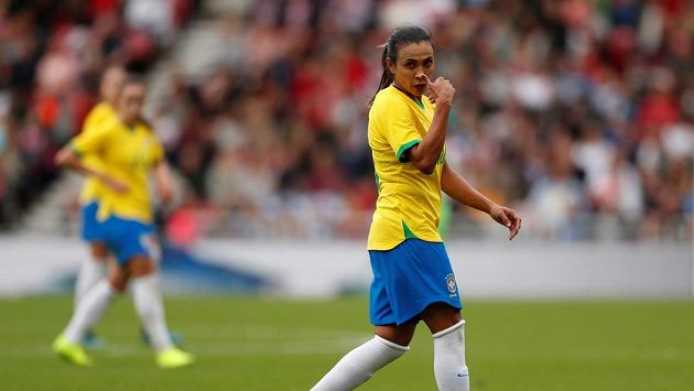Šestinásobná nejlepší fotbalistka světa Marta v dresu Brazílie.