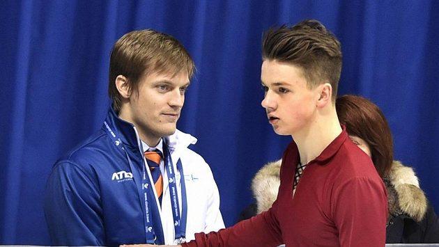 Jiří Bělohradský a vlevo jeho trenér Tomáš Verner.