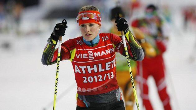 Česká biatlonistka Gabriela Soukalová při tréninku na závod štafet na MS v Novém Městě na Moravě.