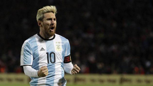 Lionel Messi se raduje z gólu, který vstřelil do sítě Uruguaye.