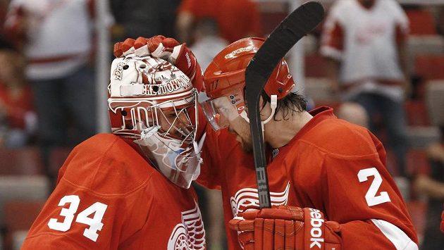 Brankář Detroitu Red Wings slaví se spoluhráčem Brendanem Smithem vítězství nad Torontem.