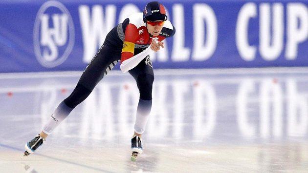 Česká rychlobruslařka Martina Sáblíková na trati 3 000 m v kazašské Astaně.