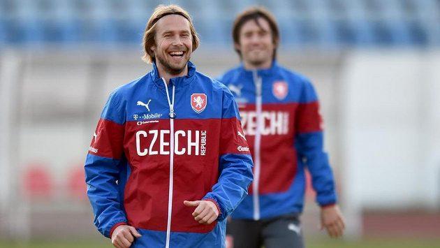 Jaroslav Plašil při tréninku české reprezentace před utkáním kvalifikace ME s Lotyšskem.