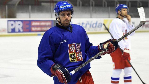 Tomáš Rolinek na tréninku hokejové reprezentace.