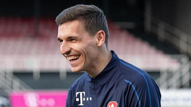 David Pavelka během tréninku fotbalové reprezentace.