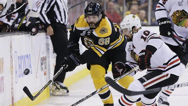 Jaromír Jágr z Bostonu se snaží přejít přes Patricka Sharpa z Chicaga.