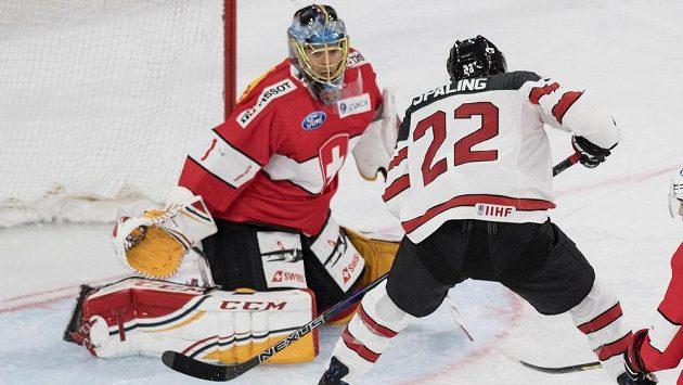 Švýcarský gólman Jonas Hiller vyráží puk před Kanaďanem Nickem Spallingem.