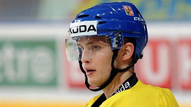 Antonín Honejsek na tréninku české hokejové reprezentace.