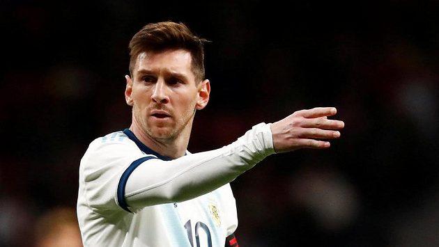 Argentinec Lionel Messi při utkání s Venezuelou v Madridu.
