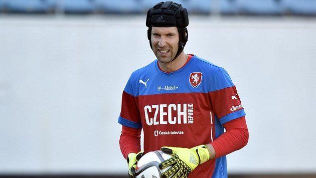 Petr Čech na tréninku národního týmu.