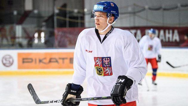 Útočník Adam Musil na archivním snímku během tréninku české hokejové reprezentace v Praze.