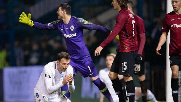 Libor Kozák ze Slovanu Liberec po neproměněněné penaltě proti Spartě.