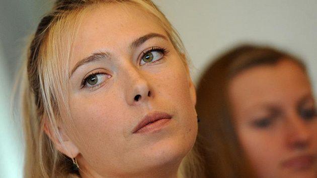 Ruská tenistka Maria Šarapovová během tiskové konference