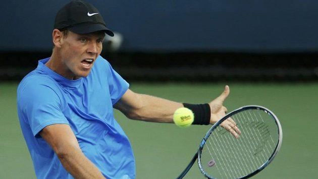 Tomáš Berdych v duelu 2. kola US Open proti Estonci Jürgenu Zoppovi
